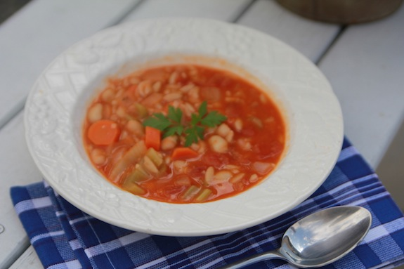 Spicy Bean Orzo Soup