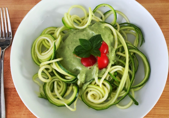 Zucchini Pasta with Creamy Pesto Sauce