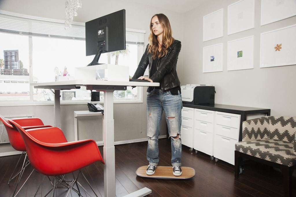 Diy standing desk with balance board to ease neck for Office chairs for standing desks