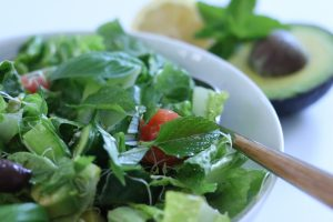 green salad with fresh mint