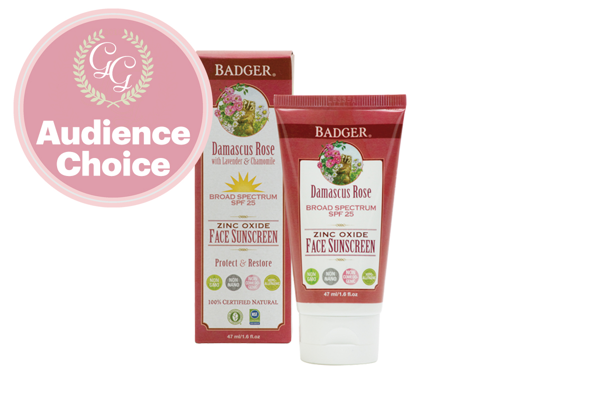 Best Sunscreen for Face: SPF25 Rose Face Sunscreen by Badger