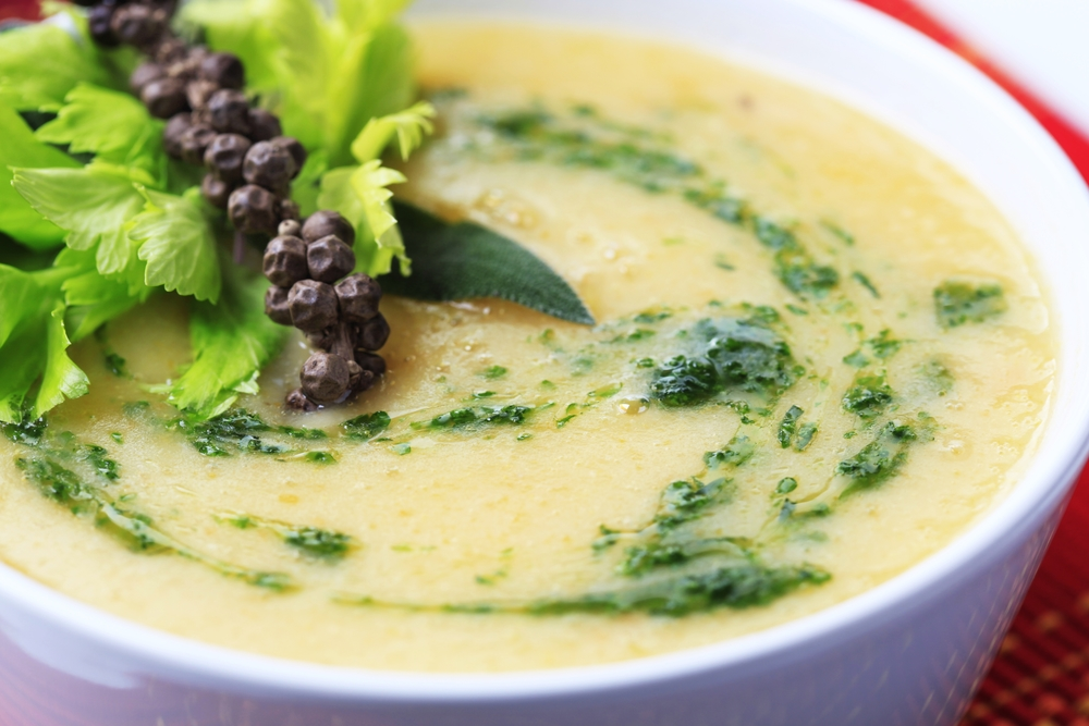 Cauliflower chowder with vegan walnut pesto