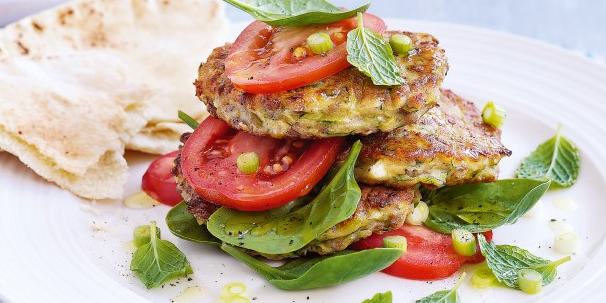 Zucchini Fritters with Tomato Olive Salsa
